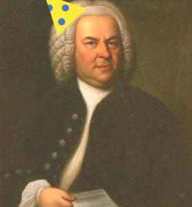 Bach in a birthday hat